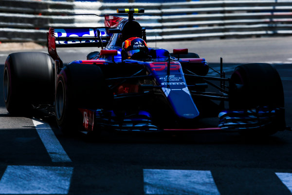 Monte Carlo, Monaco. Saturday 27 May 2017. Carlos Sainz Jr, Toro Rosso STR12 Renault. World Copyright: Charles Coates/LAT Images ref: Digital Image AN7T7523