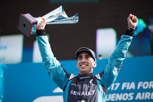 2016/2017 FIA Formula E Championship. Buenos Aires ePrix, Buenos Aires, Argentina. Saturday 18 February 2017 Sebastien Buemi (9, Renault e.dams) celebrates on the podium. Photo: Alastair Staley/LAT/Formula E ref: Digital Image 580A7541