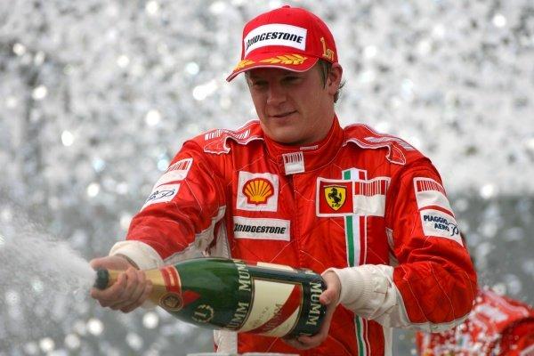 Kimi Raikkonen (FIN) Ferrari celebrates on the podium Formula One World Championship, Rd17, Brazilian Grand Prix, Race Day, Interlagos, Sao Paulo, Brazil, Sunday 21 October 2007.