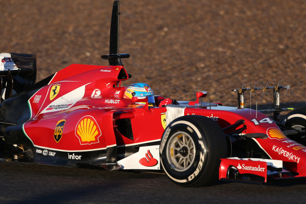 Fernando Alonso (ESP) Ferrari F14 T with aero sensor on sidepod. Formula One Testing, Jerez, Spain, Day Three, Thursday 30 January 2014.