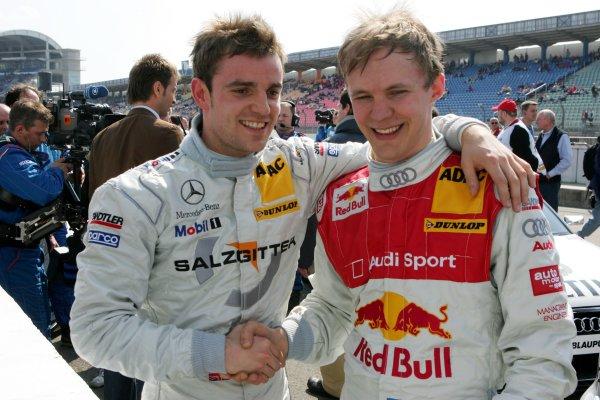 2006 DTM Championship.Round 1, Hockenheimring. 7th - 9th April 2006.Mattias Ekström (SWE), Audi Sport Team Abt Sportsline, Portrait, congratulates Jamie Green (GBR), AMG-Mercedes, Portrait, with his pole positionWorld Copyright: Miltenburg/xpb cc/LATref: Digital Image Only