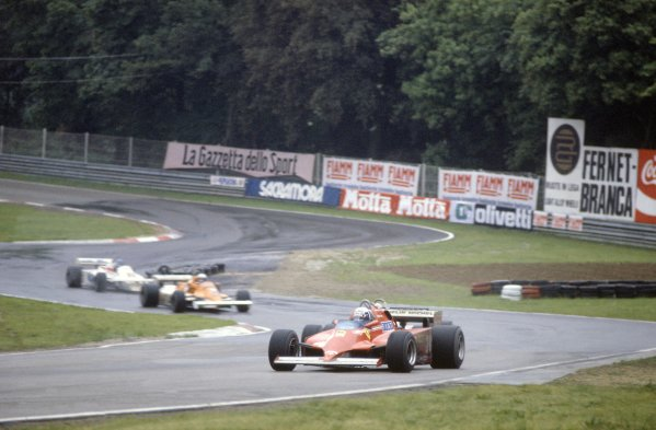 1981 San Marino Grand Prix.Imola, Italy. 1-3 May 1981.Didier Pironi (Ferrari 126C) leads Nelson Piquet (Brabham BT49C-Ford Cosworth), Riccardo Patrese (Arrows A3-Ford Cosworth) and Patrick Tambay (Theodore TR3-Ford Cosworth). Piquet finished in 1st position.World Copyright: LAT PhotographicRef: 35mm transparency 81SM03