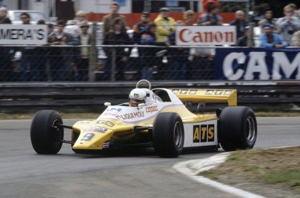 1982 Belgian Grand Prix.Zolder, Belgium. 7-9 May 1982.Manfred Winkelhock (ATS D5-Ford Cosworth), retired.World Copyright: LAT PhotographicRef: 35mm transparency 82BEL15