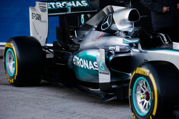 2015 F1 Pre Season Test 1 - Day 1 Circuito de Jerez, Jerez, Spain. Sunday 1 February 2015. Mercedes W06 sidepod. World Copyright: Steven Tee/LAT Photographic. ref: Digital Image _L4R9428
