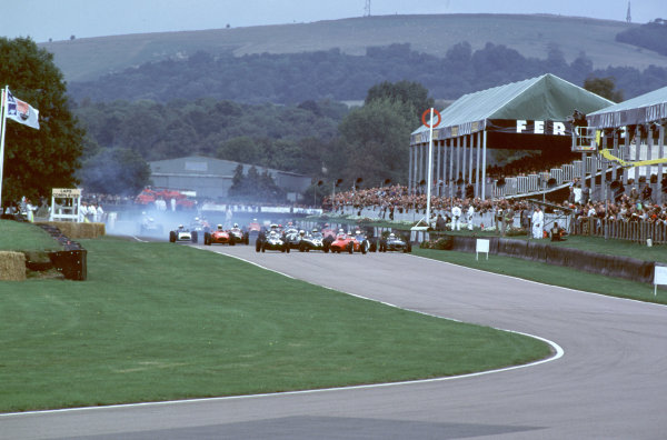 2000 Goodwood Motor Circuit Revival. Goodwood, England. 15th - 17th September 2000. Nigel Corner is catapulted out of his Ferrari Dino at the start of the race, action.  World Copyright: Jeff Bloxham / LAT Photographic. Ref:  FoS01.