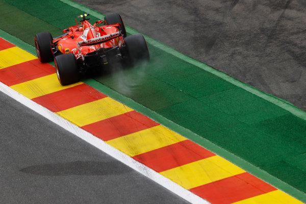 Spa Francorchamps, Belgium.  Saturday 26 August 2017. Kimi Raikkonen, Ferrari SF70H, runs wide. World Copyright: Steven Tee/LAT Images  ref: Digital Image _R3I9896