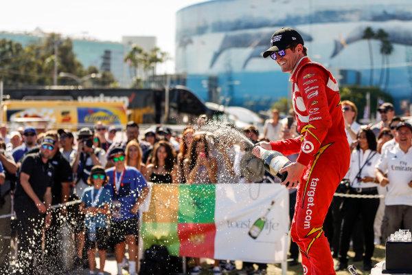 15-17 April, 2016, Long Beach, California USA 9 Scott Dixon celebrates with champagne    ?2016, Sam Cobb LAT Photo USA