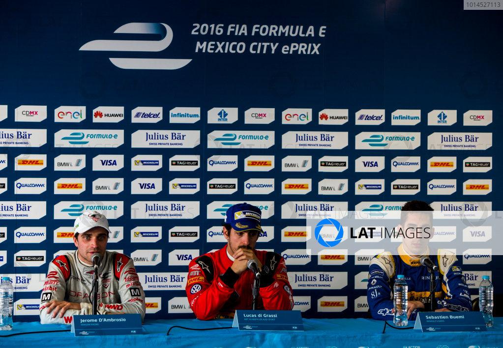 2015/2016 FIA Formula E Championship. Mexico City ePrix, Autodromo Hermanos Rodriguez, Mexico City, Mexico. Saturday 12 March 2016. Lucas Di Grassi (BRA), ABT Audi Sport FE01, Jerome D'Ambrosio (FRA) Dragon Racing - Venturi VM200-FE-01 and Sebastien Buemi (SUI), Renault e.Dams Z.E.15. Photo: Zak Mauger/LAT/Formula E ref: Digital Image _79P4235