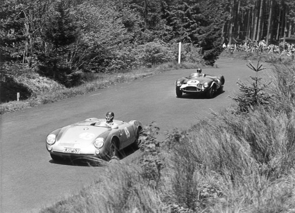 Nurburgring, Germany. 27th May 1956 Mathieu Hezemans/Carel Godin de Beaufort (Porsche 550 Spyder), 24th position leads Peter Collins/Tony Brooks (Aston Martin DB3S), 5th position, action. World Copyright: LAT Photographic Ref: B/W Print