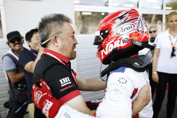 Nobuharu Matsushita (JPN, CARLIN), celebrates in Parc Ferme after winning the race