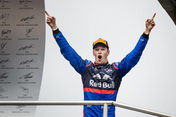 Daniil Kvyat, Toro Rosso celebrates on the podium