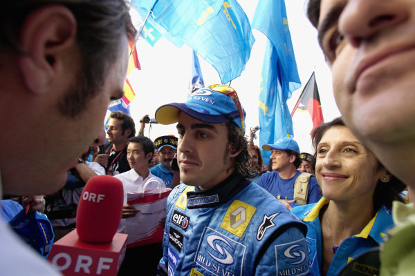 Fernando Alonso being interviewed after the race.