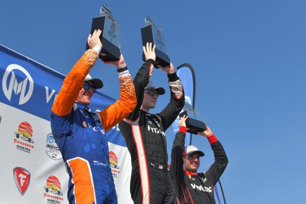 Josef Newgarden, Team Penske Chevrolet, victory lane, Scott Dixon, Chip Ganassi Racing Honda, Will Power, Team Penske Chevrolet
