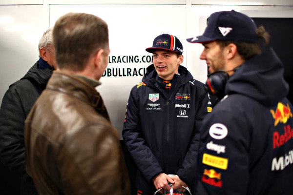 Christian Horner, Red Bull Racing Team Principal, Max Verstappen, Red Bull Racing and Pierre Gasly, Red Bull Racing in the garage during Red Bull Racing filming day at Silverstone