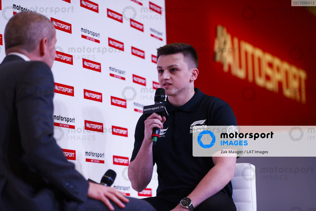 Marcel Kiefer, an Esports gamer, talks to Stuart Codling on the Autosport Stage.