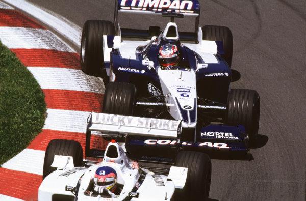 2001 Canadian Grand PrixMontreal, Canada. 8th-10th June 2001Jacques Villeneuve, BAR Honda BAR003, leads Juan Pablo Montoya, BMW Williams FW23, action.World Copyright: LAT Photographicref: 35mm Image A05