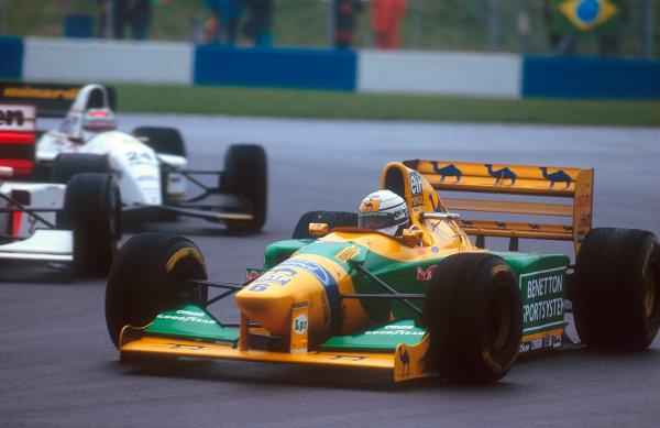 1993 European Grand Prix. Donington Park, England. 9-11 April 1993. Riccardo Patrese (Benetton B193B Ford) 5th position. Ref-93 EUR 47. World Copyright - LAT Photographic
