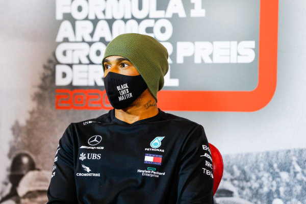 Lewis Hamilton, Mercedes-AMG Petronas F1, in the post qualifying Press Conference