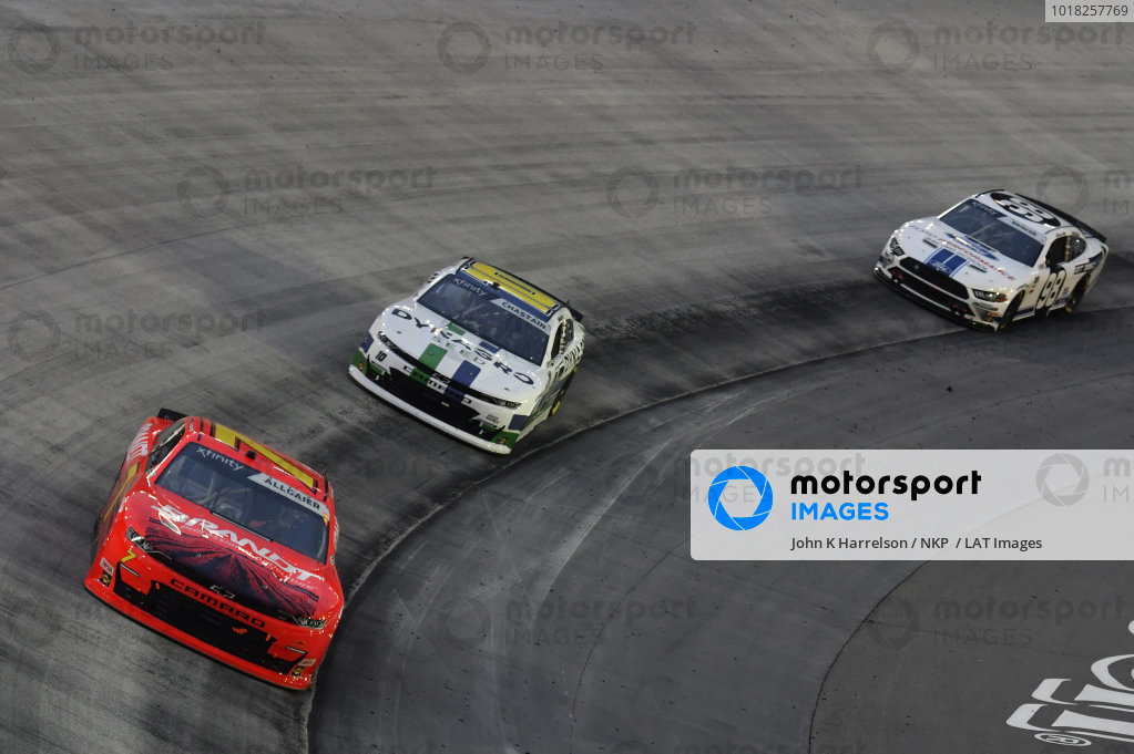 #7: Justin Allgaier, JR Motorsports, Chevrolet Camaro BRANDT, #10: Ross Chastain, Kaulig Racing, Chevrolet Camaro Dyna-Gro Seed, #98: Chase Briscoe, Stewart-Haas Racing, Ford Mustang Ford Performance Racing School