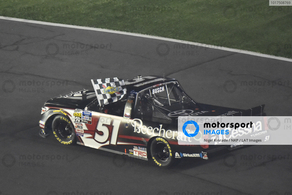 #51: Kyle Busch, Kyle Busch Motorsports, Toyota Tundra Cessna  celebrates his win