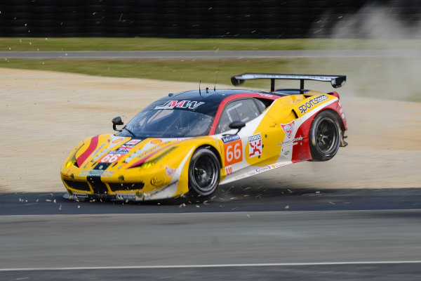 #66 JMW Motorsport Ferrari 458 Italia: Abdulaziz Al Faisal, Seth Neiman, Spencer Pumpelly crashes
