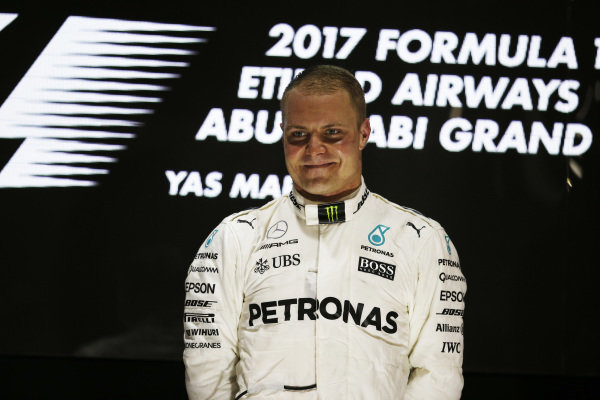 Race winner Valtteri Bottas (FIN) Mercedes AMG F1 celebrates on the podium at Formula One World Championship, Rd20, Abu Dhabi Grand Prix, Race, Yas Marina Circuit, Abu Dhabi, UAE, Sunday 26 November 2017.