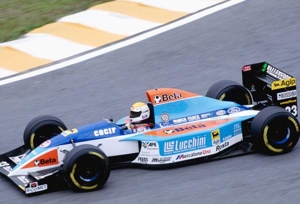 1994 Brazilian Grand Prix. Interlagos, Sao Paulo, Brazil. 25-27 March 1994. Pierluigi Martini (Minardi 193B Ford) 8th position. Ref-94BRA44. World Copyright - LAT Photographic