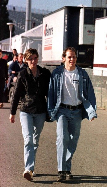 1997 Canadian Grand Prix.Montreal, Quebec, Canada.13-15 June 1997.Jacques Villeneuve (Williams Renault) with his girlfriend, Sandrine, in the paddock.World Copyright - LAT Photographic