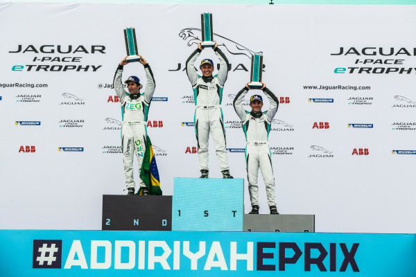 The PRO class podium: winner Simon Evans (NZL), Team Asia New Zealand, 2nd position Sérgio Jimenez (BRA), Jaguar Brazil Racing and 3rd position Bryan Sellers (USA), Rahal Letterman Lanigan Racing hold their trophies aloft
