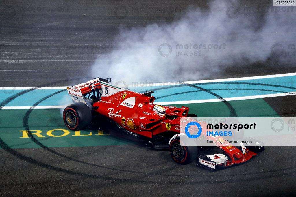 Sebastian Vettel (GER) Ferrari SF70-H celebrates and performs donuts in parc ferme at Formula One World Championship, Rd20, Abu Dhabi Grand Prix, Race, Yas Marina Circuit, Abu Dhabi, UAE, Sunday 26 November 2017. BEST IMAGE