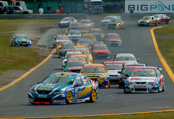 2003 Australian V8 Supercars, Round 9, Sandown, 14th September 2003.V8 Supercar driver Marcos Ambrose leads the field into turn 2 at the start of the Betta Electrical 500 held at Sandown International Raceway Melbourne, Australia this weekend.Photo: Mark Horsburgh/LAT Photographic