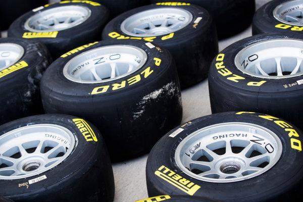 2017 FIA Formula 2 Round 11. Yas Marina Circuit, Abu Dhabi, United Arab Emirates. Thursday 23 November 2017. Pirelli tyres Photo: Sam Bloxham/FIA Formula 2. ref: Digital Image _J6I0927