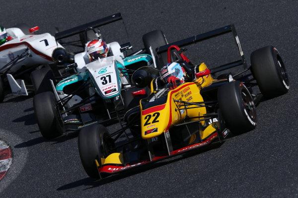 2015 Japanese Formula 3 Championship. Okayama, Japan. 27th - 28th June 2015. Rd 10 & 11. 3rd position Lucas Ordonez ( #22 B-MAX NDDP F3 ) action World Copyright: Masahide Kamio / LAT Photographic. Ref:  2015JF3_Rd10&11_08