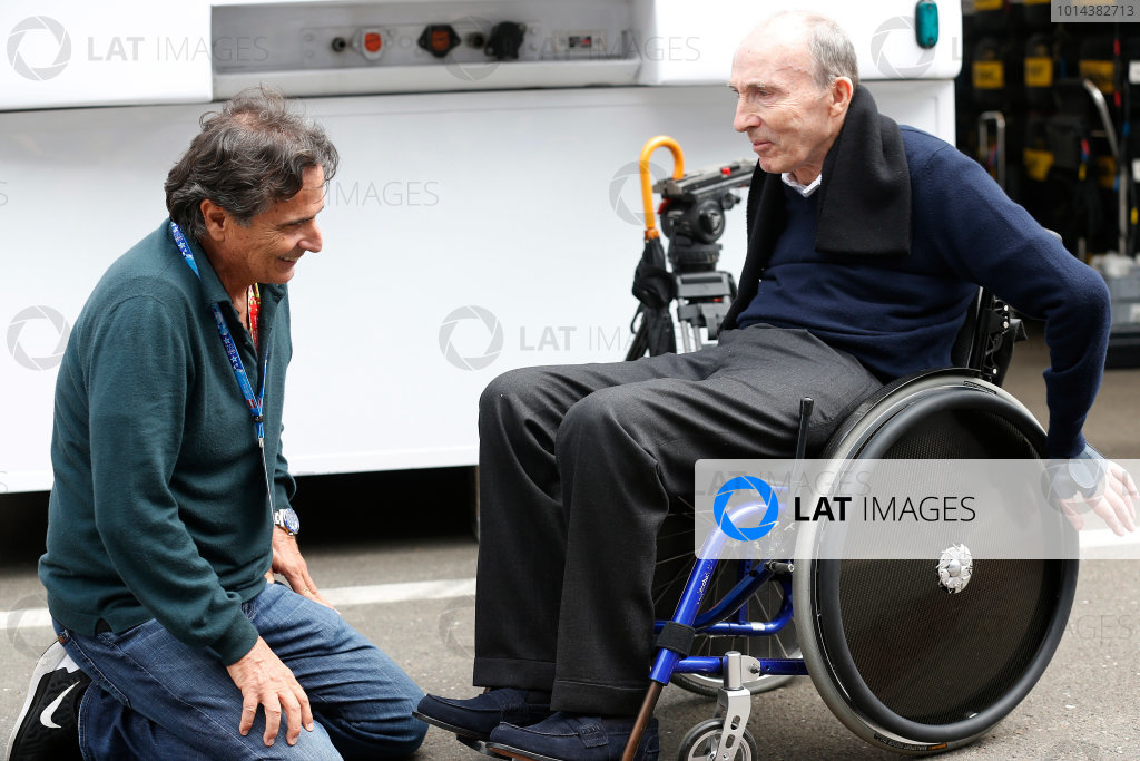 Red Bull Ring, Spielberg, Austria. Thursday 18 June 2015. Sir Frank Williams, Team Principal, Williams F1, talks to Nelson Piquet. World Copyright: Alastair Staley/LAT Photographic. ref: Digital Image _R6T6845