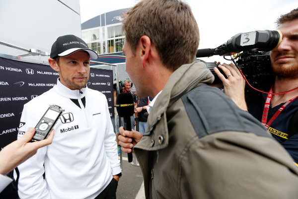 Red Bull Ring, Spielberg, Austria. Thursday 18 June 2015. Jenson Button, McLaren, talks to the press. World Copyright: Alastair Staley/LAT Photographic. ref: Digital Image _79P6345