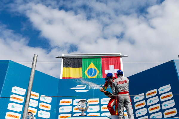 2014/2015 FIA Formula E Championship. Berlin ePrix, Berlin Tempelhof Airport, Germany. Saturday 23 May 2015 Podium. 1st, Lucas di Grassi (BRA)/Audi Abt Sport - Spark-Renault SRT_01E, 2nd, Jerome D'Ambrosio (BEL)/Dragon Racing - Spark-Renault SRT_01E and 3rd, Sebastien Buemi (SWI)/E.dams Renault - Spark-Renault SRT_01E. Photo: Zak Mauger/LAT/Formula E ref: Digital Image _L0U9715