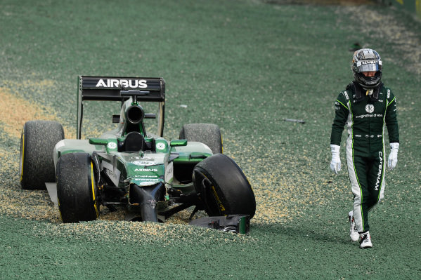 Race retiree Kamui Kobayashi (JPN) Caterham CT05 crashes out of the start at the race. Formula One World Championship, Rd1, Australian Grand Prix, Race, Albert Park, Melbourne, Australia, Sunday 16 March 2014. BEST IMAGE