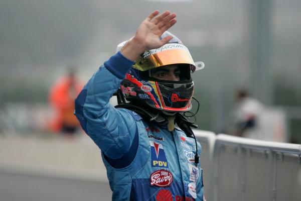 Spa Francorchamps, Spa, Belgium. 7th September.Sunday Race.Pastor Maldonado (VEN, Piquet Sports) celebrates his victory. World Copyright: Alastair Staley/GP2 Series Media Service. ref: Digital Image _MG_3320
