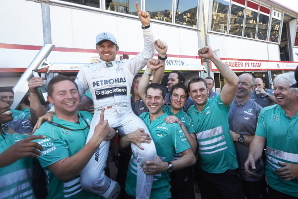 o 26th May 2013. Nico Rosberg and the Mercedes team celebrate victory. World Copyright: Steve Etherington/c ref: Digital Image SNE23952 copy