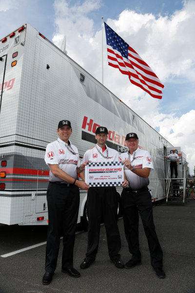 4-7 July, 2013, Long Pond, PA, USA Honda HPD engineers celebrate their 200th IndyCar win.  Pictured are Steve Erickson, David George and Dan Layton, who were all present at Andre Ribeiro's first win for Honda. © 2013, Michael L. Levitt LAT Photo USA