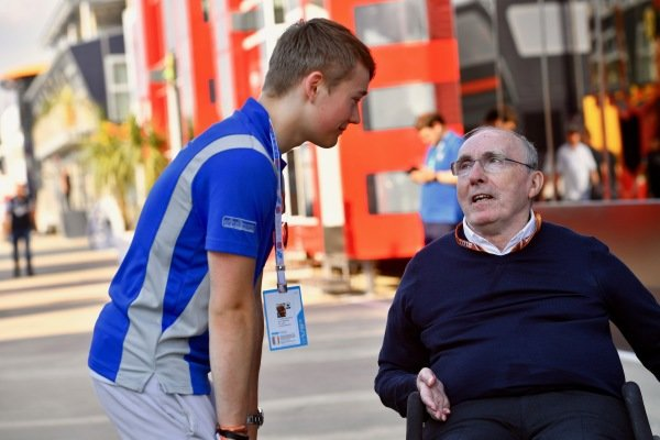 Billy Monger (GBR)  and Frank Williams (GBR) Williams Team Owner