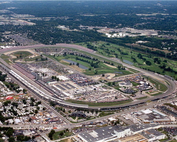 Aerial view over the Indianapolis circuit.