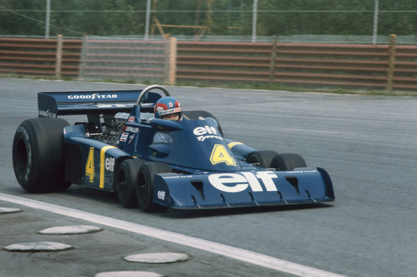Osterreichring, Zeltweg, Austria. 13th - 15th August 1976.  Patrick Depailler (Tyrrell P34-Ford), retired, action. World Copyright: LAT Photographic  Ref: 76 AUT 13.