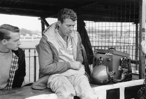 Aintree, Great Britain. 18th July 1959.Carroll Shelby (Aston Martin DBR4/250), 11th position, portrait.World Copyright: LAT Photographic.Ref: 8333C - 8.