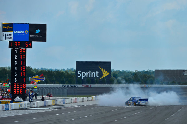 August 2-3, 2013, Long Pond, Pennsylvania USA Ryan Blaney celebrates his win. © 2013, Brian Czobat LAT Photo USA
