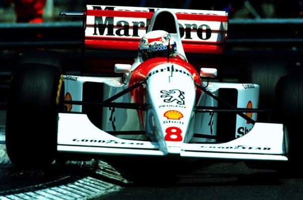 1994 Monaco Grand Prix.Monte Carlo, Monaco.12-15 May 1994.Martin Brundle (McLaren MP4/9 Peugeot) 2nd position.World Copyright - LAT Photographic