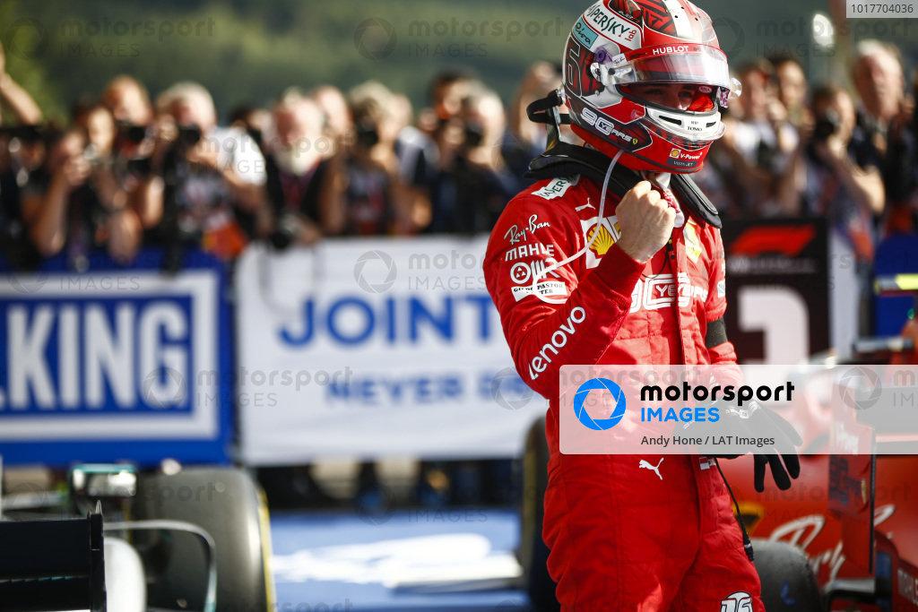 Charles Leclerc, Ferrari, celebrates in victory in parc ferme