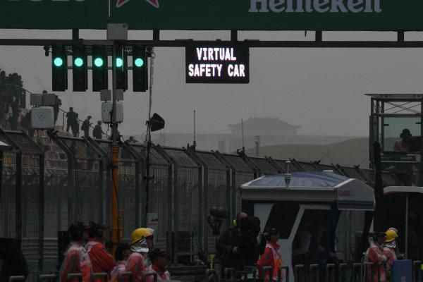 Virtual Safety car sign at Formula One World Championship, Rd2, Chinese Grand Prix, Practice, Shanghai, China, Friday 7 April 2017.