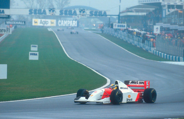 1993 European Grand Prix. Donington Park, England. 9-11 April 1993. Ayrton Senna (McLaren MP4/8 Ford) 1st position at Redgate. Ref-93 EUR 32. World Copyright - LAT Photographic