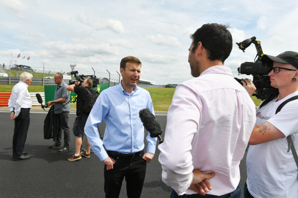 Stuart Pringle, Managing Director of Silverstone Circuits speaks to the media